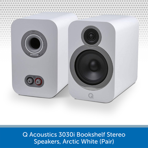 Q Acoustics 3030i Bookshelf Stereo Speakers, Arctic White (Pair)