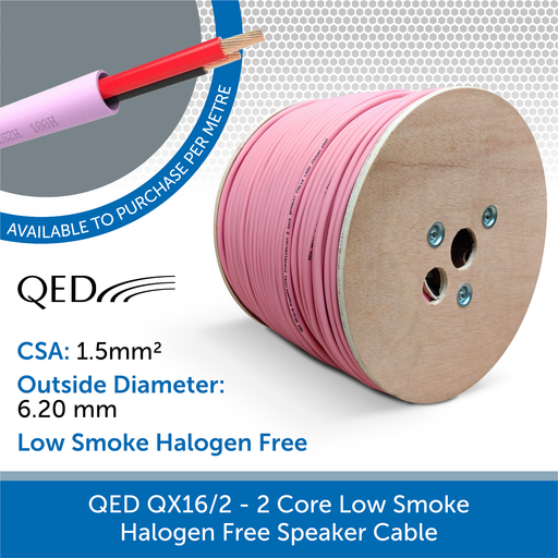 QED QX16/2 Low Smoke Zero Halogen (LSZH) Speaker Cable - (Custom Length)