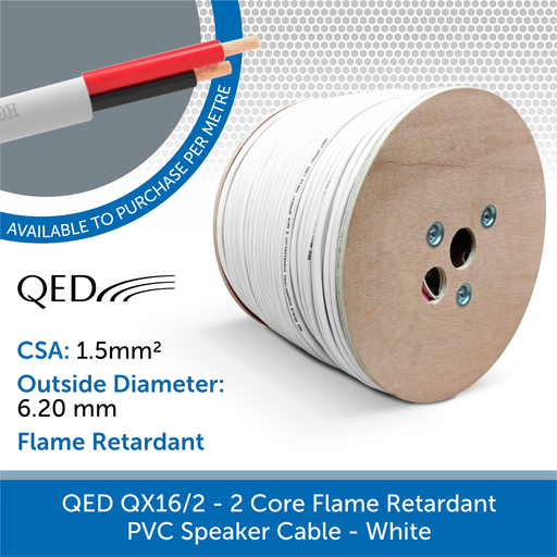 QED QX16/2 - 2 Core Flame Retardant PVC Speaker Cable - White (Custom Length)