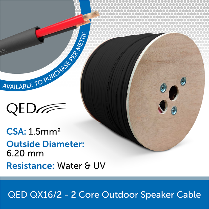 QED QX16/2 - 2 Core Outdoor Speaker Cable - Black (Custom Length)