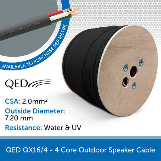 QED QX16/4 4-Core Outdoor Speaker Cable - Black (Custom Length)
