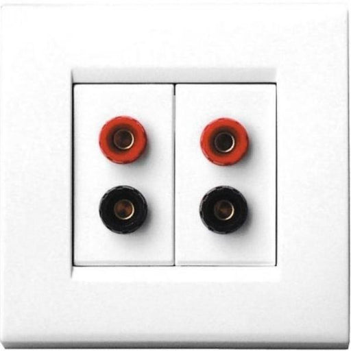 QED WM11 Dual Speaker Cable Wall Plate, 1 Gang, White