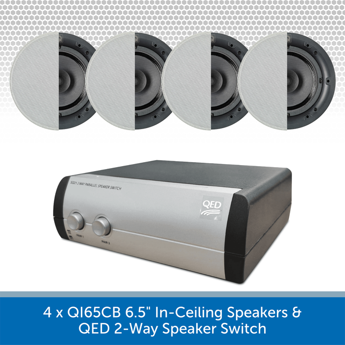 "4 x QI65CB 6.5"" In-Ceiling Speakers + QED 2-Way Speaker Switch"