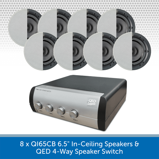 "8 x QI65CB 6.5"" In-Ceiling Speakers + QED 4-Way Speaker Switch"