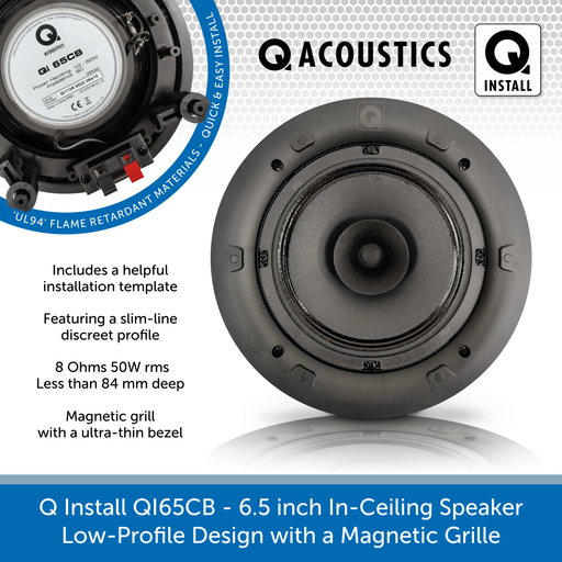Q Install QI65CB - 6.5 inch In-Ceiling Speaker (8 ohms - 50W rms) Low-Profile with a Magnetic Grille