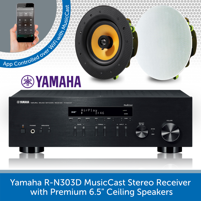 "Yamaha R-N303D MusicCast Stereo Receiver with 2x Premium 6.5"" Ceiling Speakers"