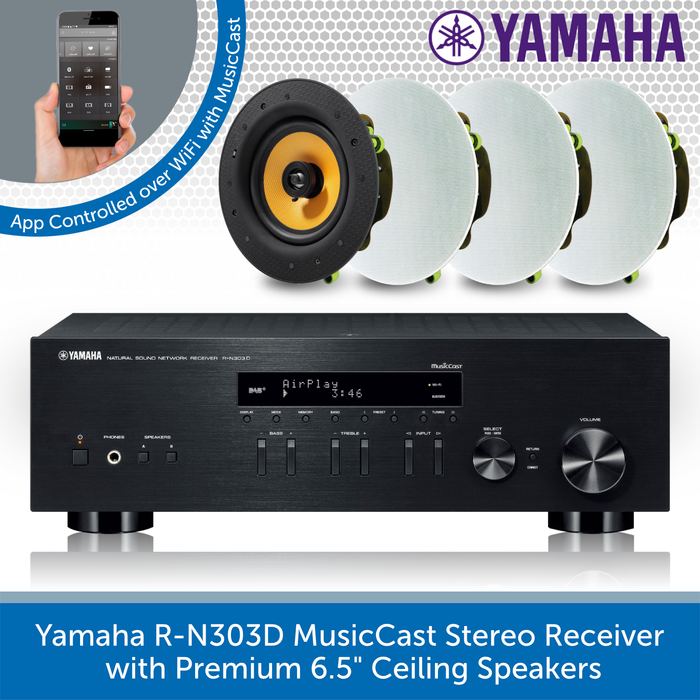 "Yamaha R-N303D MusicCast Stereo Receiver with 4x Premium 6.5"" Ceiling Speakers"