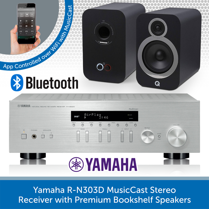 Yamaha R-N303D MusicCast Stereo Receiver with Premium Bookshelf Speakers