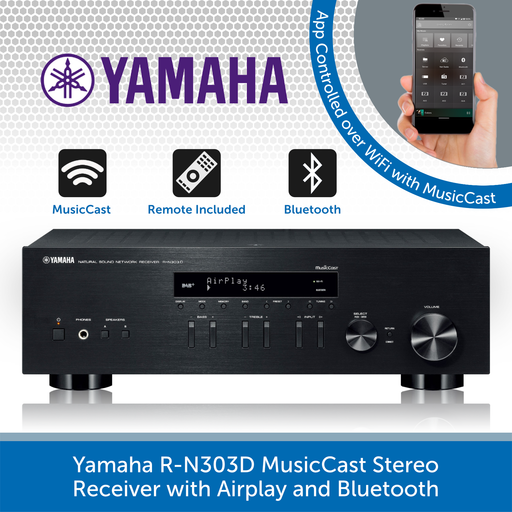 Yamaha R-N303D MusicCast Stereo Receiver with Airplay and Bluetooth BLACK