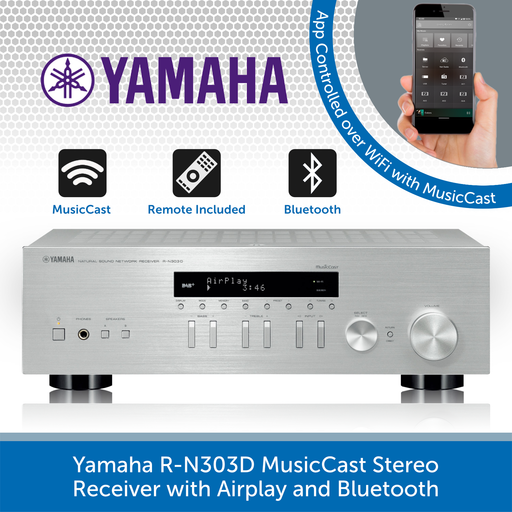 Yamaha R-N303D MusicCast Stereo Receiver with Airplay and Bluetooth SILVER