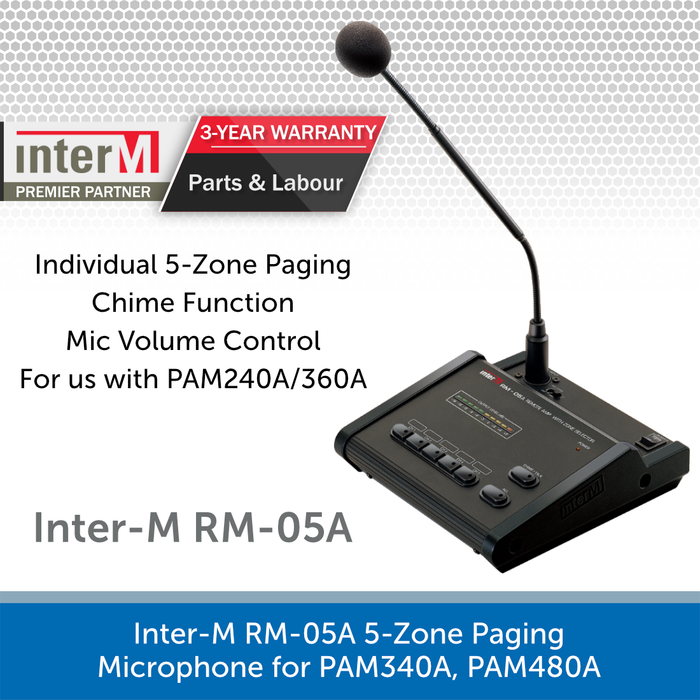 Inter-M RM-05A 5-Zone Paging Microphone for PAM240A, PAM360A