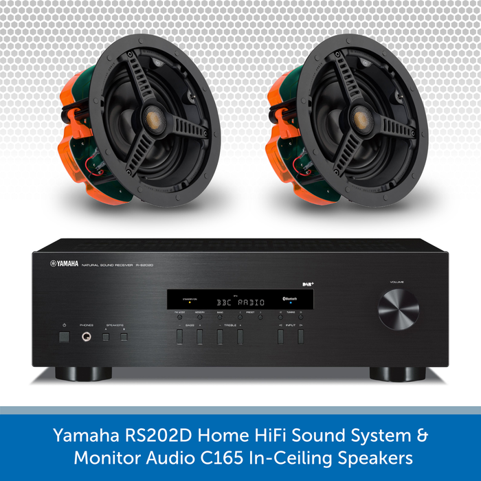 Yamaha RS202D Home HiFi Sound System - 2x Monitor Audio C165 In-Ceiling Speakers