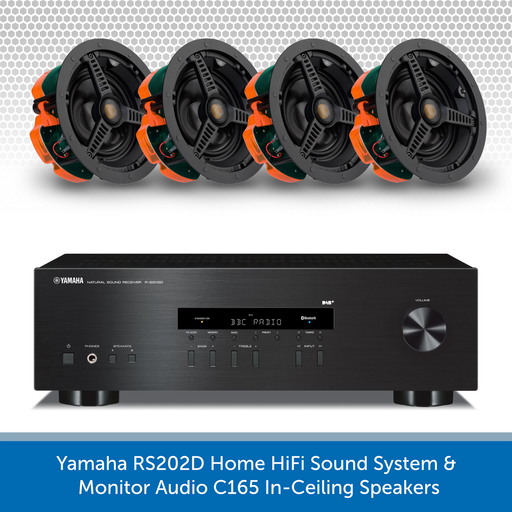 Yamaha RS202D Home HiFi Sound System - 4x Monitor Audio C165 In-Ceiling Speakers
