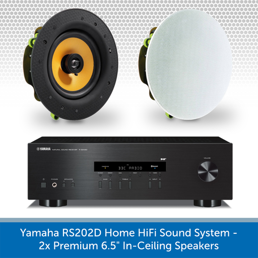 "Yamaha R-S202D Home HiFi Sound System - 2x Premium 6.5"" In-Ceiling Speakers"