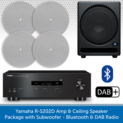 Yamaha R-S202D Amp & Ceiling Speaker Package with Subwoofer - Bluetooth & DAB Radio