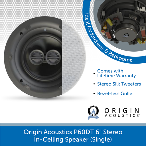 "Origin Acoustics P60DT 6"" Stereo In-Ceiling Speaker (Single)"
