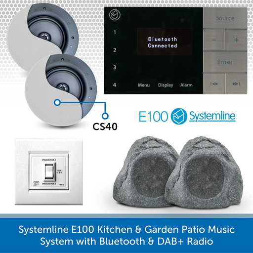 Systemline E100 Kitchen & Garden Patio Music System with Bluetooth & DAB+ Radio CS40