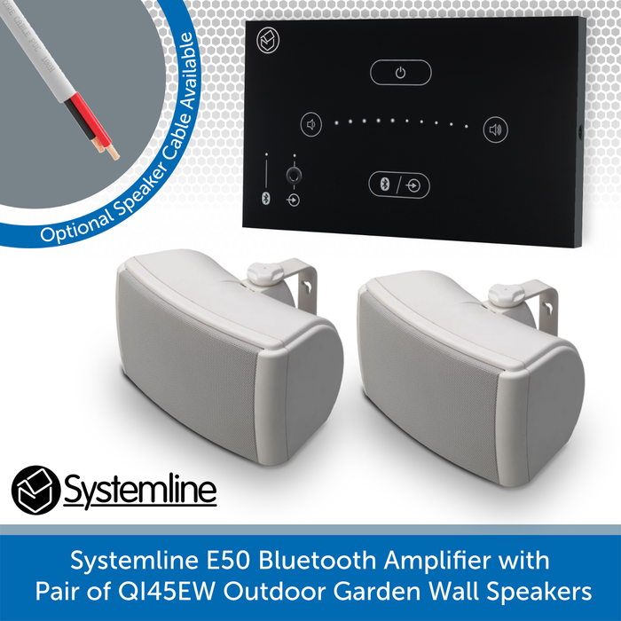 Systemline E50 Bluetooth Amplifier with Pair of QI45EW Outdoor Garden Wall Speakers