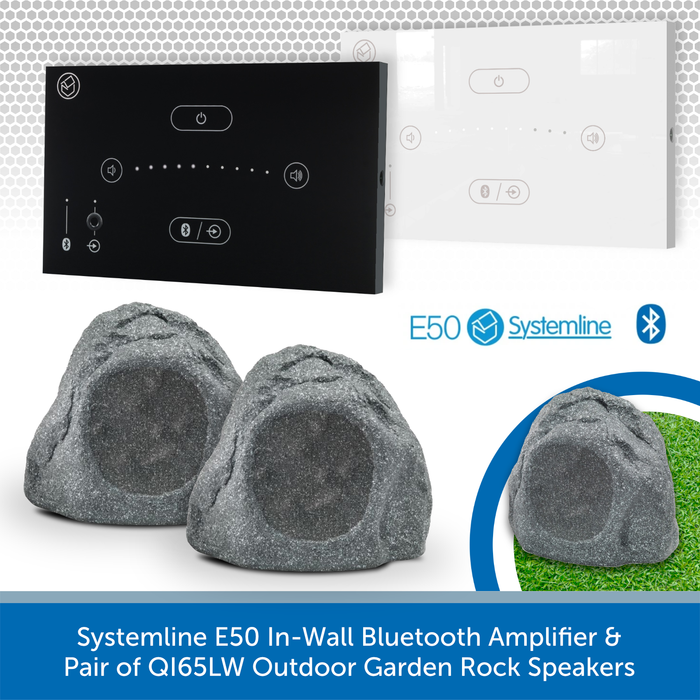Systemline E50 In-Wall Bluetooth Amplifier + Pair of QI65LW Outdoor Garden Rock Speakers