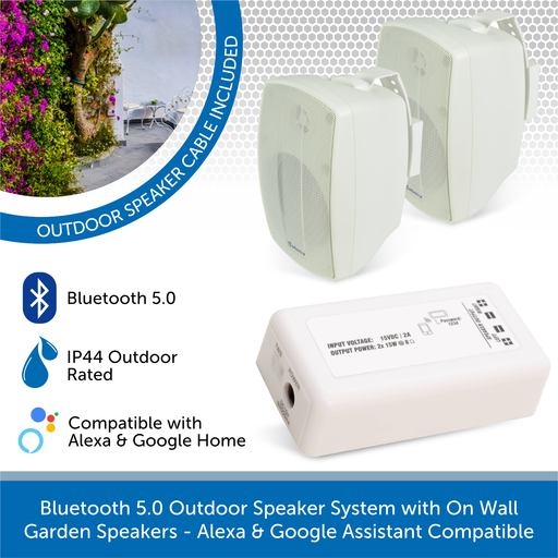 AudioVolt Bluetooth 5.0 Outdoor Speaker System with On Wall Garden Speakers - Alexa & Google Assistant Compatible