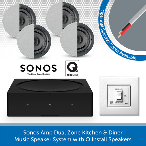 Sonos Amp Dual Zone Kitchen & Diner Music Speaker System with Q Install Speakers