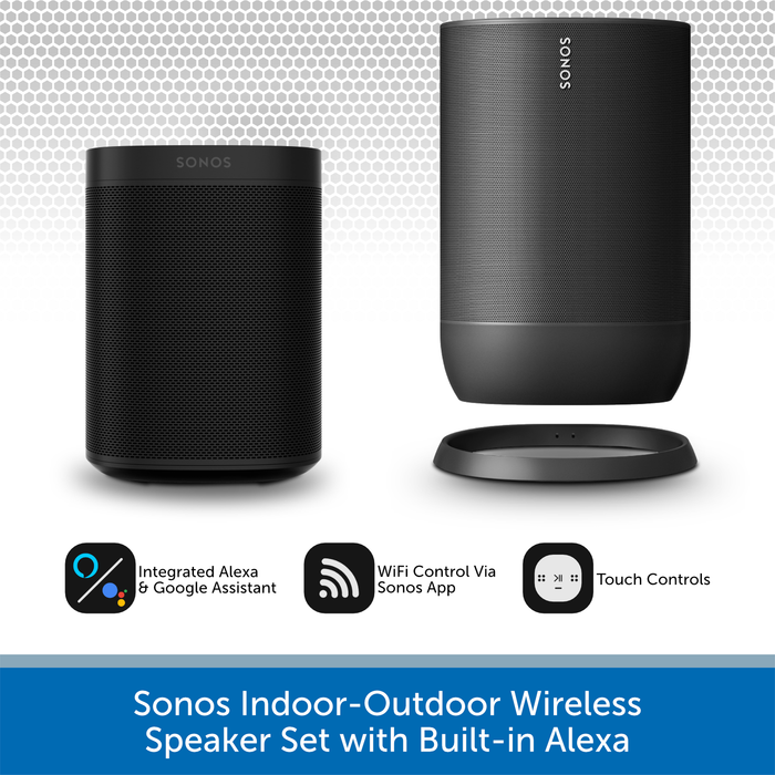 Sonos Indoor-Outdoor Wireless Speaker Set with Built-in Alexa