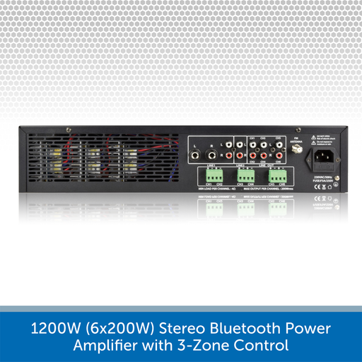 1200W (6x200W) Stereo Bluetooth Power Amplifier with 3-Zone Control