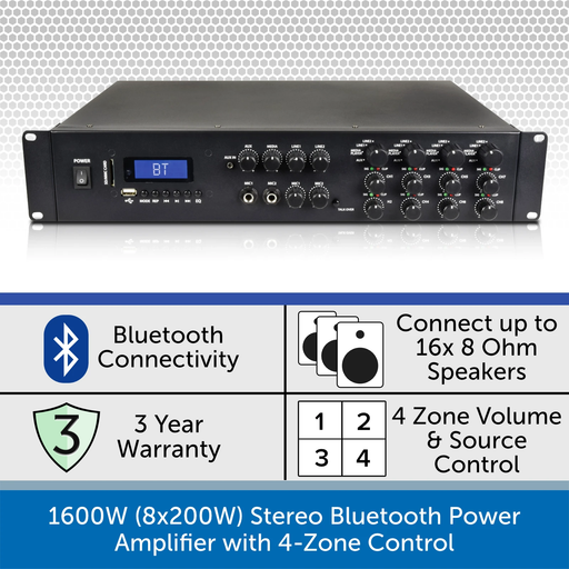 1600W (8x200W) Stereo Bluetooth Power Amplifier with 4-Zone Control