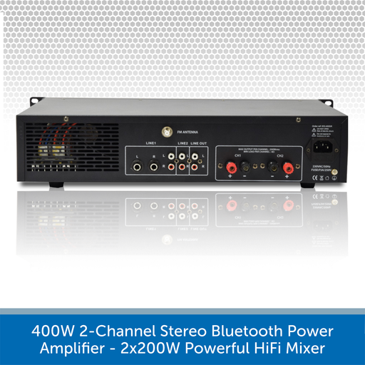 400W 2-Channel Stereo Bluetooth Power Amplifier - 2x200W Powerful HiFi Mixer