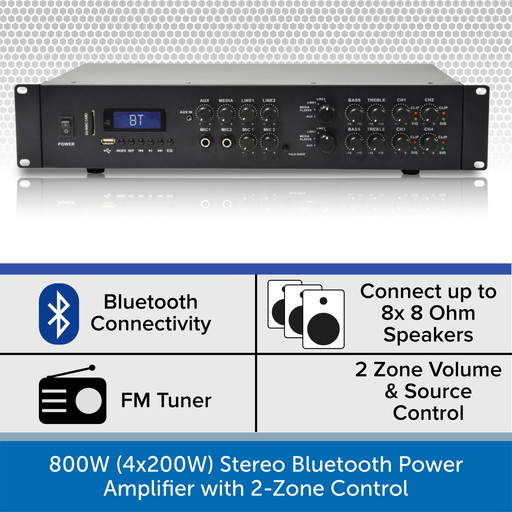 800W (4x200W) Stereo Bluetooth Power Amplifier with 2-Zone Control