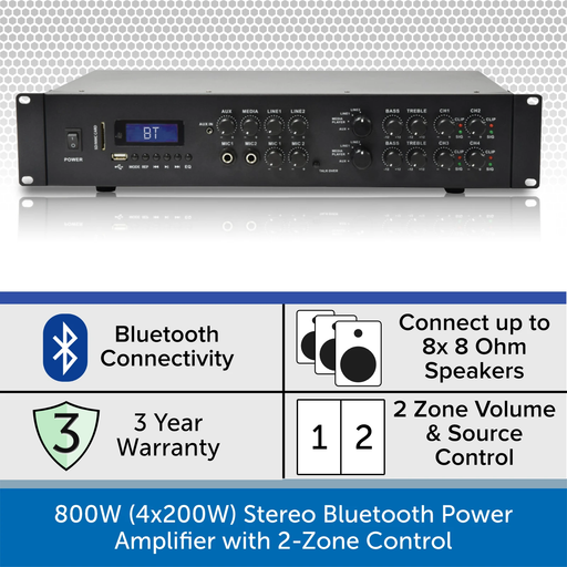 800W Stereo Bluetooth Power Amplifier with Premium Wall Speakers