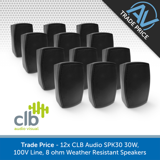 Trade Pack - 12x CLB Audio SPK30 Indoor/Outdoor Wall-Mount Speakers, 100V & 8 Ohm (Black or White)