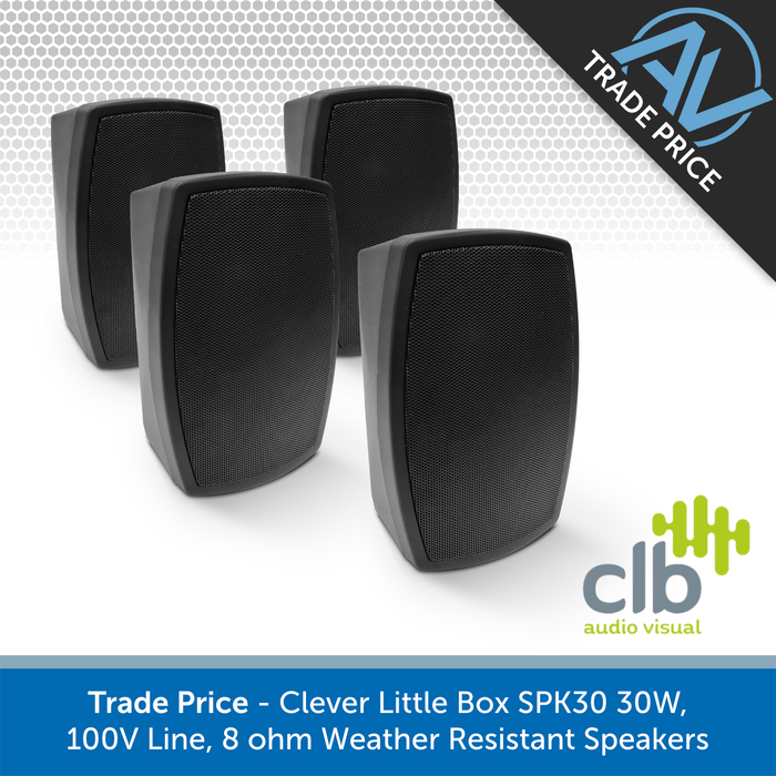Trade Pack - 4x CLB Audio SPK30 Indoor/Outdoor Wall-Mount Speakers, 100V & 8 Ohm (Black or White)