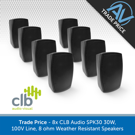 Trade Pack - 8x CLB Audio SPK30 Indoor/Outdoor Wall-Mount Speakers, 100V & 8 Ohm (Black or White)