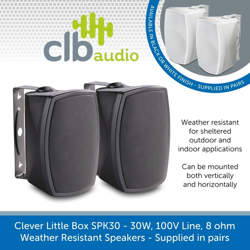 CLB Audio SPK30 Weather Resistant Wall-Mount Speakers, 100V/8 Ohms