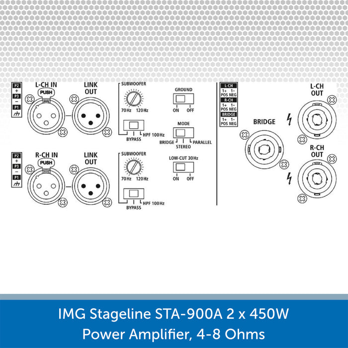 IMG Stageline STA-1500A 2 x700W Power Amplifier, 4-8 Ohms Rear