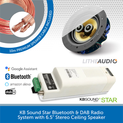 "KB Sound Star Bluetooth & DAB Radio System with 6.5"" Stereo Ceiling Speaker"