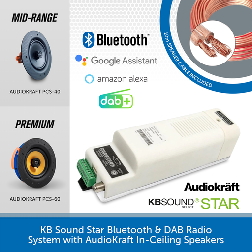KB Sound Star Bluetooth & DAB Radio System with AudioKraft In-Ceiling Speakers