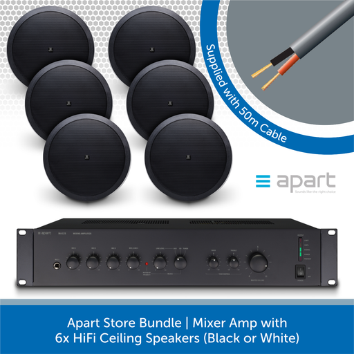 Apart Store Bundle | Mixer Amp with 6x HiFi Ceiling Speakers BLACK
