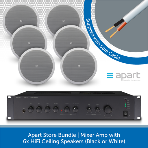 Apart Store Bundle | Mixer Amp with 6x HiFi Ceiling Speakers WHITE