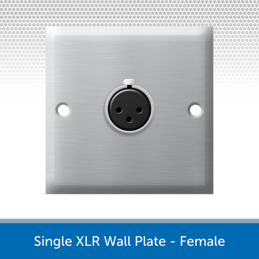 Single XLR Wall Plate, 1 Gang, Brushed Steel - Female