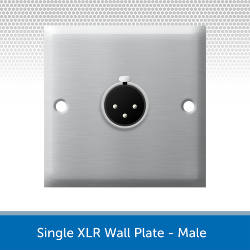 Single XLR Wall Plate, 1 Gang, Brushed Steel - Male