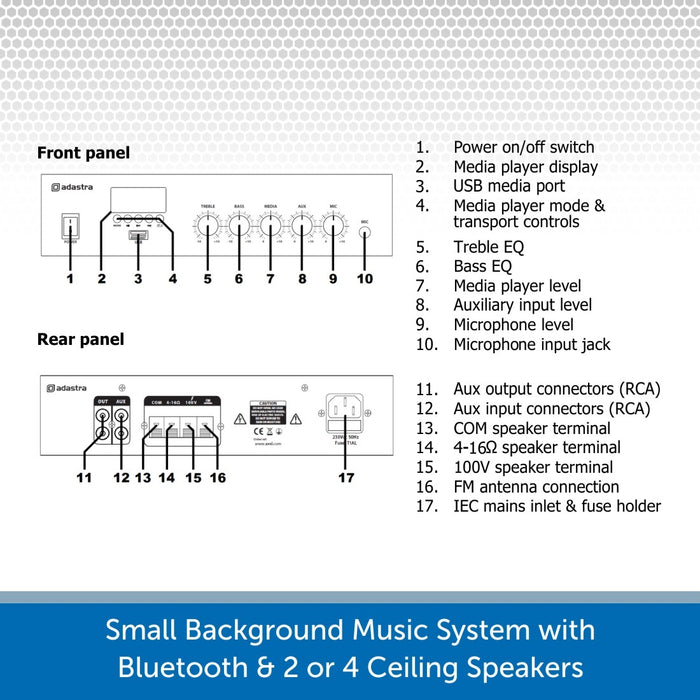 Background Music System with 2 or 4 Ceiling Speakers, Bluetooth & FM Radio