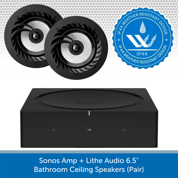 "Sonos Amp + Lithe Audio 6.5"" Bathroom Ceiling Speakers (Pair)"