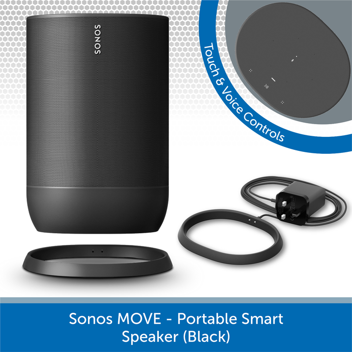 Sonos Move (Black) - Portable Smart Speaker Charging