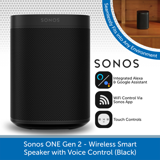 Sonos One Gen 2 - Wireless Smart Speaker with Voice Control (Black)