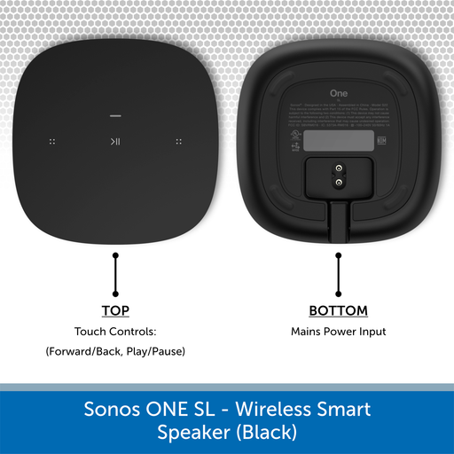 Sonos One SL - Wireless Smart Speaker (Black) Top & Bottom