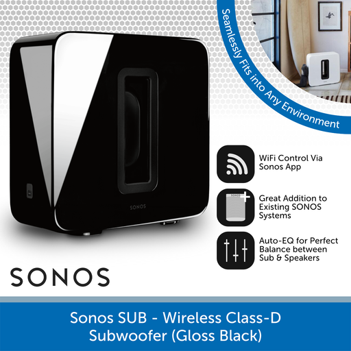Sonos Sub (Black) - Wireless Active Subwoofer