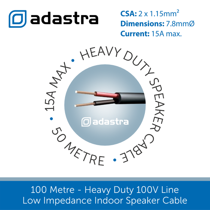 Double Insulated 100V Line Speaker Cable, 1.15mm, 15-Amps - 100m & 50m (Black or White)