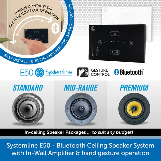 Systemline E50 - Bluetooth Ceiling Speaker System with In-Wall Gesture Control Amplifier